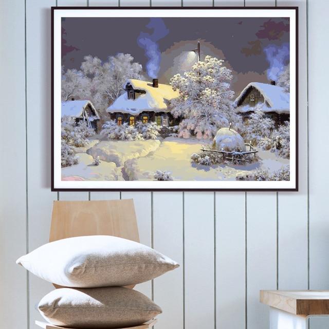 Peinture à numéros / paysages d'hiver 50×40 cm 2