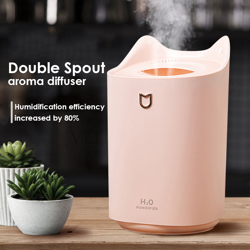 New Double Spray Port Humidifier 3300ml Large Capacity Aroma Diffuser USB Cute Desktop Essential Oil Diffuser