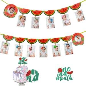 Арбуз 1 год фото плакат 1-12 месяцев фото плакат 1-й День рождения украшения для маленькой девочки ежемесячная веха фото реквизитная гирлянда