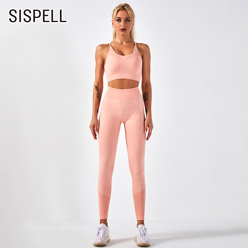SISPELL Solid Color Sportswear For Women Two piece Suit Sleeveless Slimming Vests High Waist Seamless Female