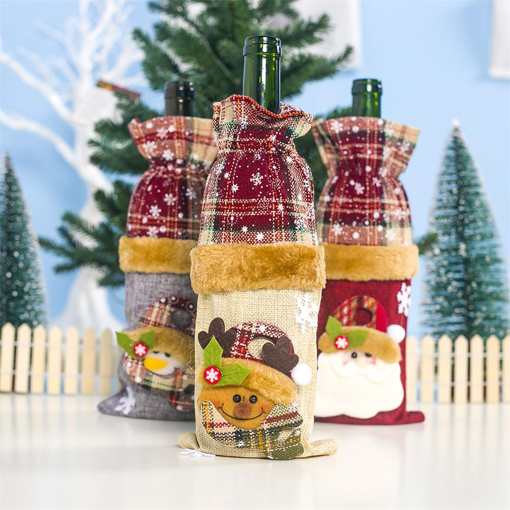 Christmas Wine Bottle Case Ornaments Christmas Home Party Decor Champagne Bottle Cover For Party Dinning-table Bottle Decoration