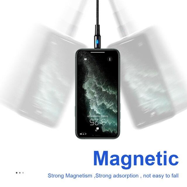 Cabo usb magnético para iphone, cabo de carregamento rápido para iphone 11, 7, 8, plus, xr, x, xs, max cabo de cabo de telemóvel 2