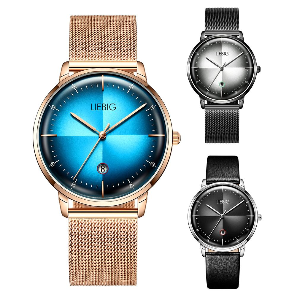 LIEBIG L2008 Fashion Waterproof Watch Men Mesh Band Faux Leather Round Dial No Number Analog Quartz Watch Relógio De Homem