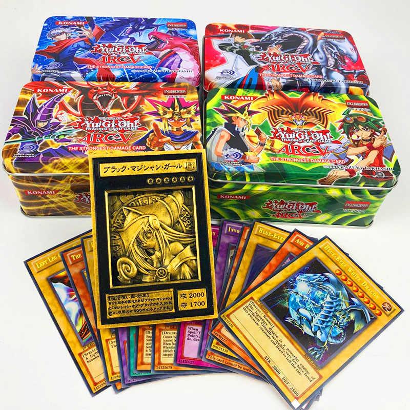45 pçs/set yu gi oh jogo cartas clássico yugioh, jogo, cartas de coleção de papelão com cartão flash e metal brinquedos da caixa de lata