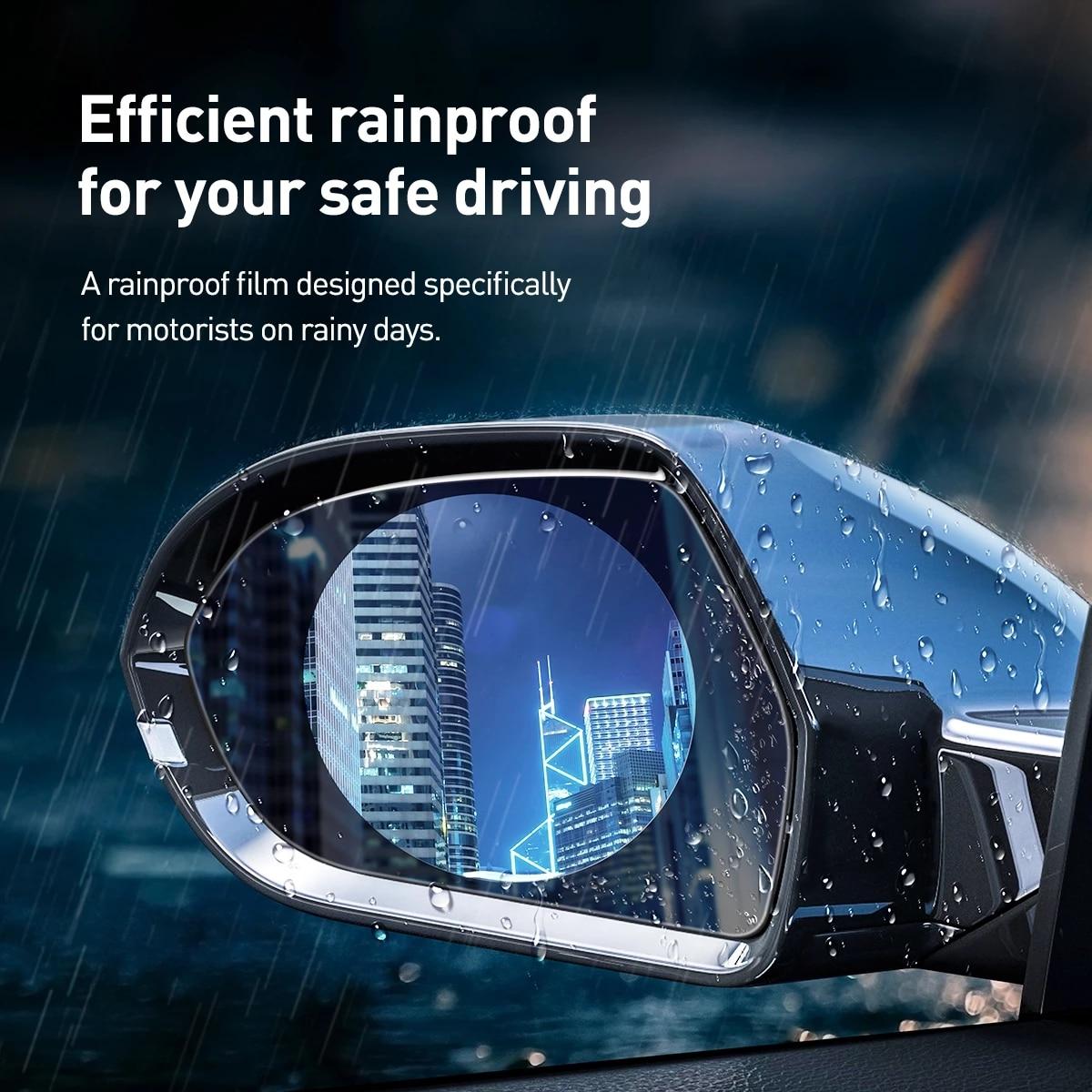 2 adet/takım yağmur geçirmez araba aksesuarları araba ayna camı şeffaf Film membran Anti sis Anti parlama önleyici su geçirmez etiket sürüş güvenliği