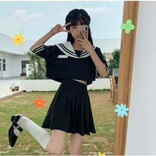 Short-Height Japanese-Style Sailor Collar College Style Slim Short Top + High Waist Pleated Skirt Two Piece Suit Women's Summer