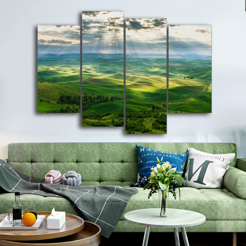 Laeacoo Green Landscape Canvas Painting Calligraphy Prints Home Decoration Wall Art Pictures For Living Room Bedroom No Frame