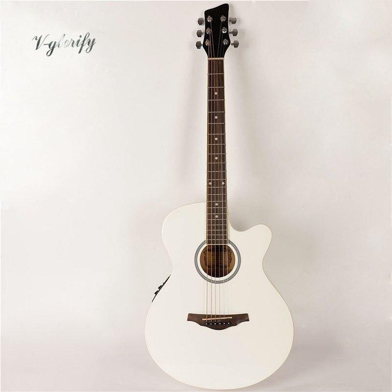 Couleur blanche 40 pouces épicéa simple caisse de son guitare électrique acoustique cutway design 6 cordes guitare folk guitare acoustique
