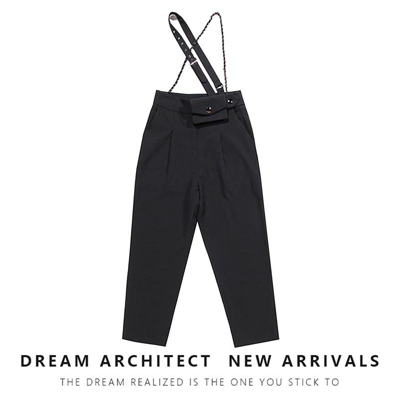 SuperAen Black Casual Pants Women 2020 Autumn New Design Chain Running Bag Strap Capri Suit Pants Women