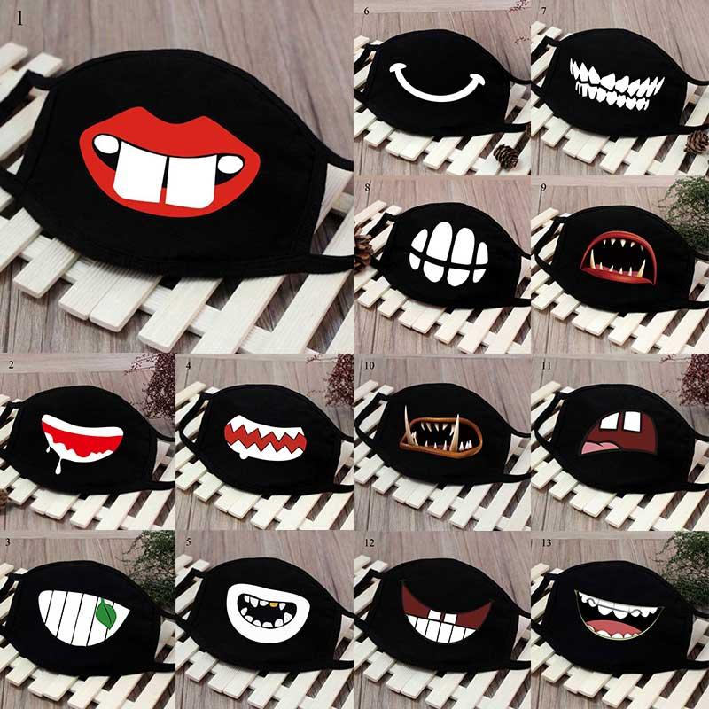 Cute Dustproof Mask Cartoon Funny Teeth Mouth Mask Black Cotton Half Mouth Masks Women Men Anti-Dust Cute Face Mouth Masks