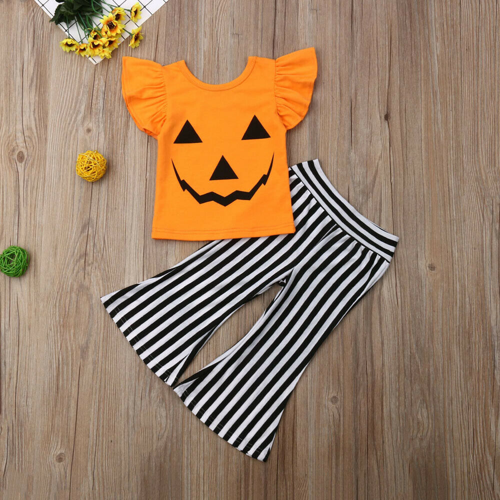 US Stock Halloween Clothes Toddlers Baby Girl Clothes  Pumpkin T-shirt+Striped Pant Flare Pants Outfit Set Clothes 2pcs 1-6T