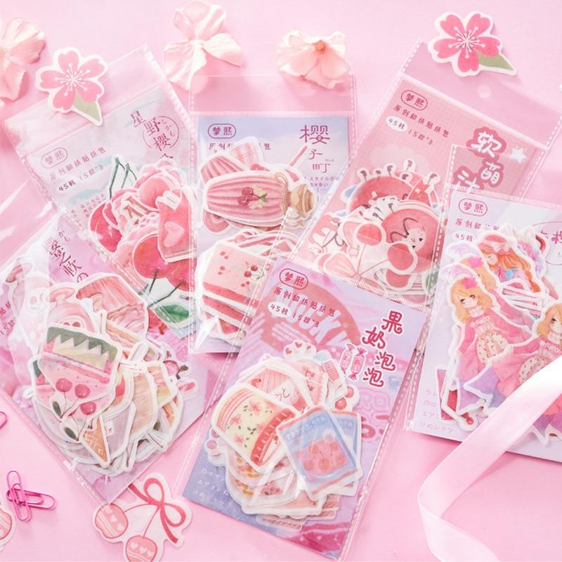 45 Pcs/lot pink delicious food mini paper sticker decoration DIY diary scrapbooking seal sticker kaw