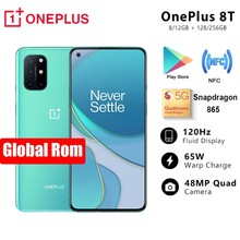 Chegada nova oneplus 8 t 8 t snapdragon 865 5g smartphone 12gb 256gb 120hz display fluido 48mp quad cams 65w urdidura