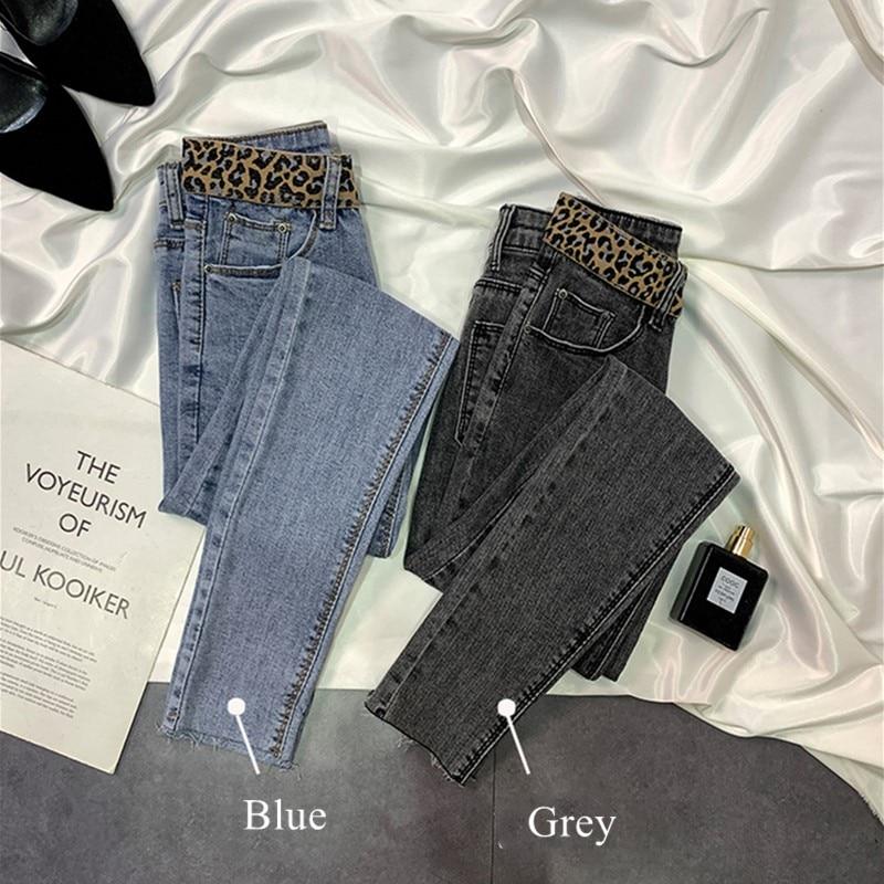2020 New Leopard Skinny Jeans For Women Spring Female Denim Pants Autumn Pant Slim Stretch Cotton Denim Blue woman Trousers