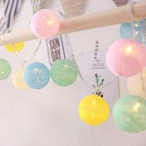 Гирлянда, гирлянда, 20 светодиодных ватных шариков, сказочные световые Струны для праздника, Рождества, вечеринки, свадьбы, романтические ук...