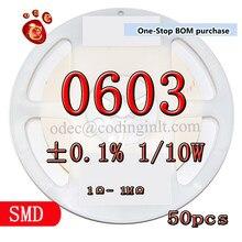 SMD 0603 ± 0.1% 1 2.87KΩ/10W 25PPM resistores de filme de Alta precisão 50 PÇS/LOTE