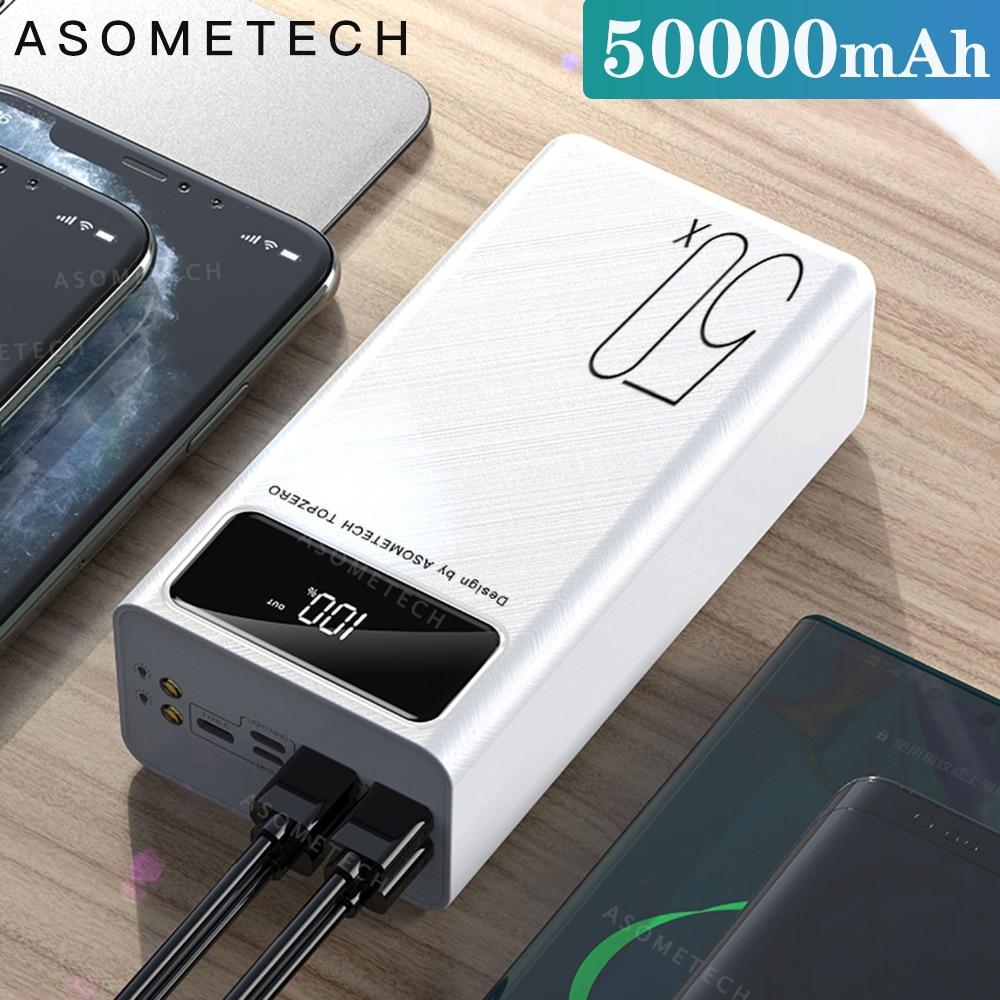 Внешний аккумулятор 50000 мАч, портативное зарядное устройство, светодиодная подсветка, внешний аккумулятор повер банк для телефона повербан...