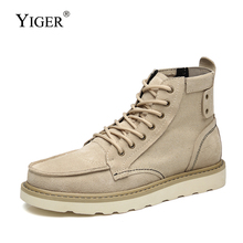 YIGER New Men riding boots man martins boots Cow suede canvas causal shoes lace-up autumn male ankle boots tooling boots  0377 mens riding ankle boots canvas fashion autumn winter shoes two wear talent black gray khaki casual lace up male leisure boots
