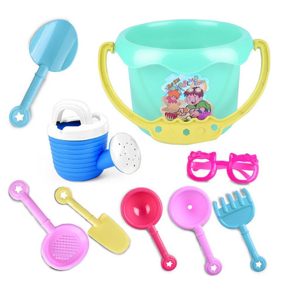 9Pcs Toddler Kids Children Outdoor Sand Beach Bucket Shovel Rake Water Toys Set +Creative Sun Sunglasses