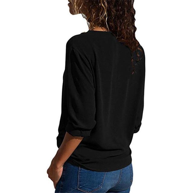 S-5XL Casual Women Summer Blouse Long Sleeve V-neck Splice Shirt Solid Color Long Blouse Plus Size Women Tops Thin Chiffon Blusa 3