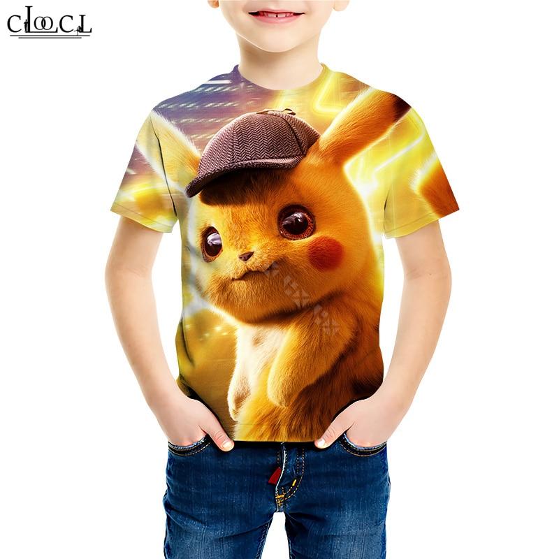 Pikachu Pokemon Boys Girls Kids Cartoon 3D Pringting Summer Short Leeve T-shirt