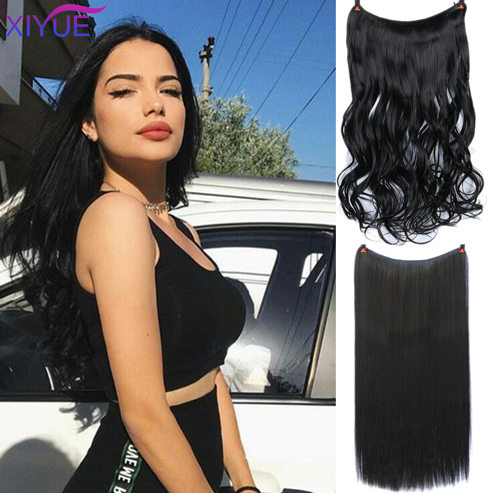 Girls Clip in Hair Extensions Invisible Wire Secret Fish Line Hairpieces Silky Red Long Straight 22inches Hair Accessorie