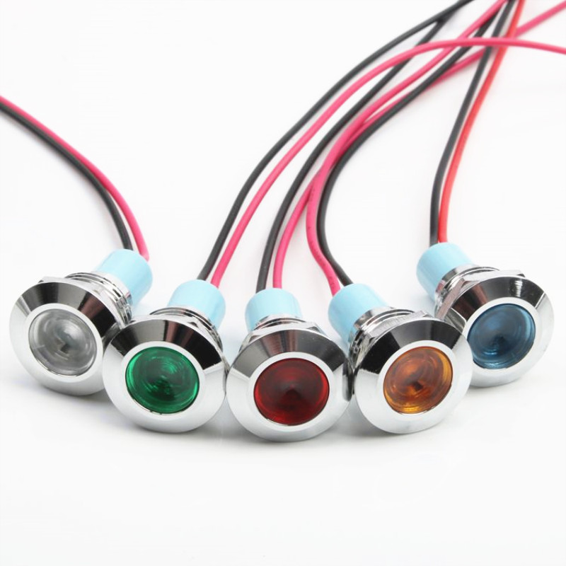 1pcs 12mm Flat Head LED Metal Indicator Light 12mm Waterproof Signal Lamp 6V 12V 24V 220v With Wire Red Yellow Blue Green White