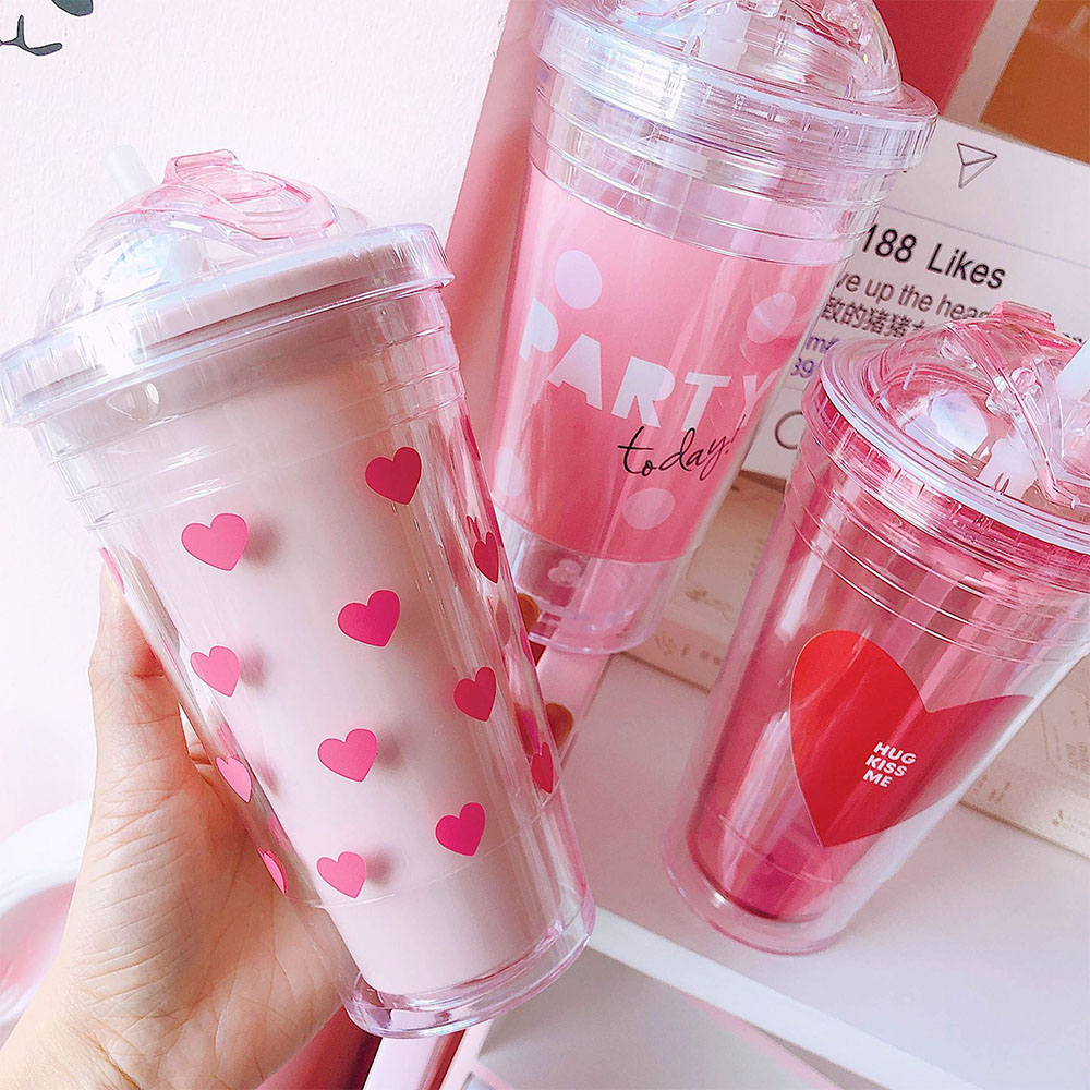 370ml Plastic Water Bottle Cool Summer Juice Milk Drink Bottle Chic Dual Layer Cute Pink Heart Straw Cup Coffee Tea Bottle|Water Bottles|   - AliExpress