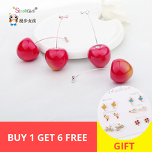 New arrival 925 sterling silver rose gold&White gold Cute Red Cherry Drop Earrings For Women Fashion Jewelry Free shipping