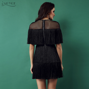Image 5 - Adyce 2020 Summer Black Tassels Celebrity Evening Party Dress Women Black Short Sleeve Mesh Sexy Hollow Out Fringe Club Dresses