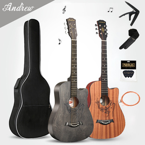 Andrew 41/38 inch Acoustic Guitar for Beginners Guitar Sets with Capo Picks 6 Brass Strings Guitar Basswood Musical Instruments(China)