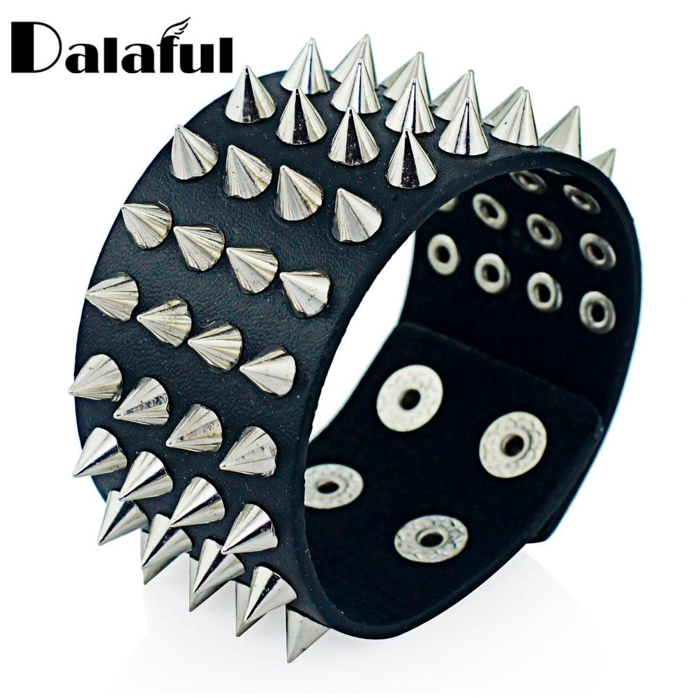 Unique Four Row Cuspidal Spikes Rivet Stud Wide Cuff Leather Punk Gothic Rock Unisex Bangle Bracelet men jewelry S263
