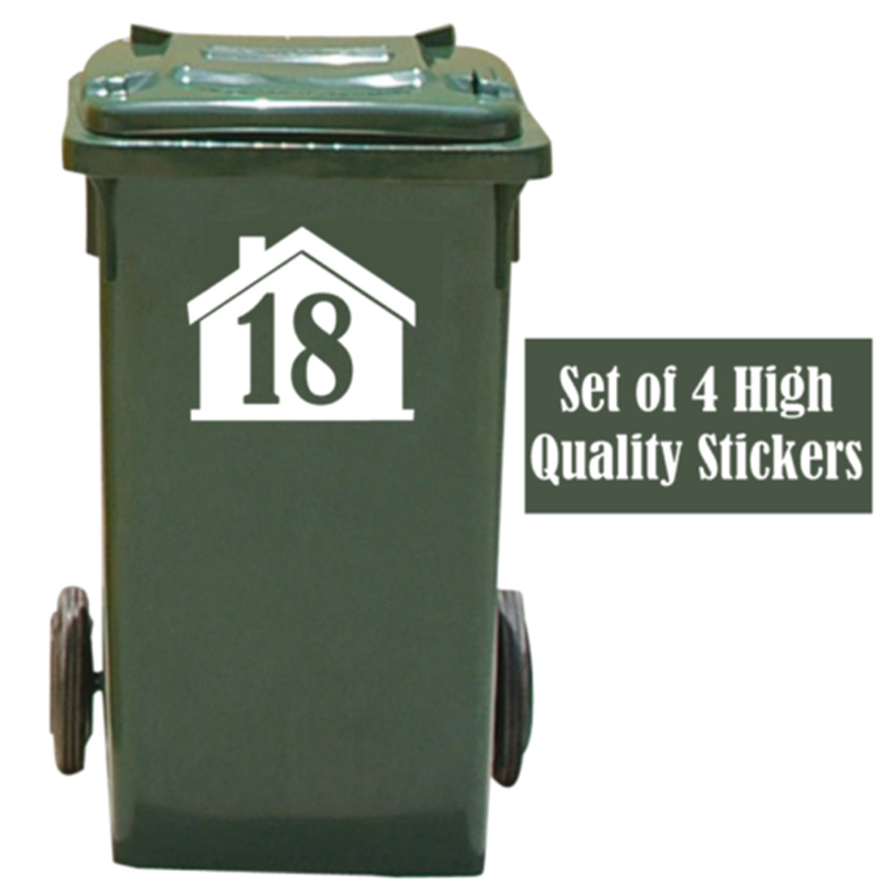4 X White Wheelie Bin House Number Stickers Customized Personality Stickers 14cmx16cm