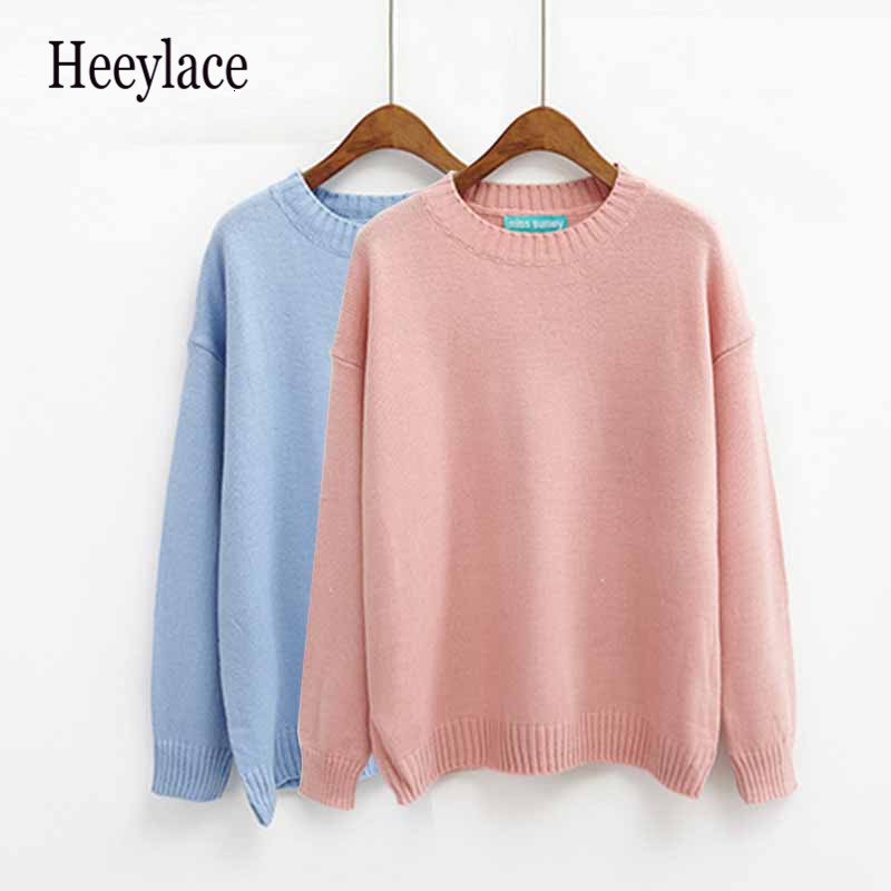 Autumn Winter Women Sweater Casual O-Neck Acrylic Sweater Solid Casual 14 Colors Pullovers Computer Knitwear Thin Tops