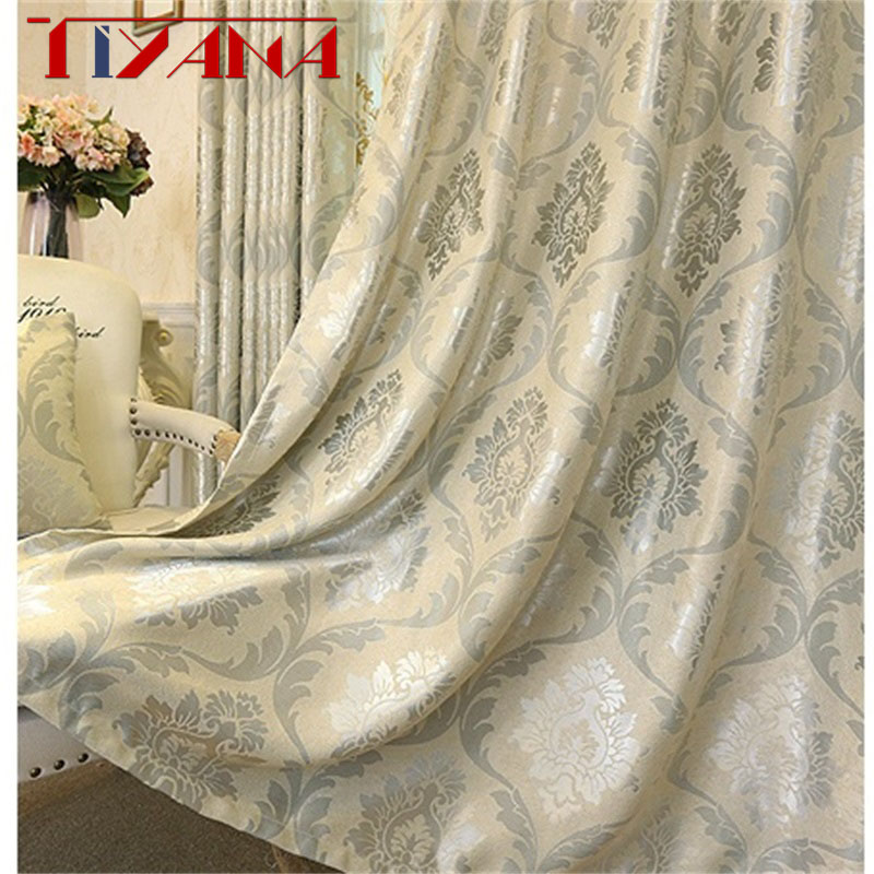 European Luxury Jacquard Curtains For Living Room Beige Drapes Window Panel Fabric Curtain For Bedroom Shading 80% Custom T61#4