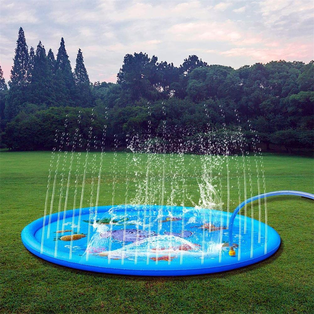 170/150/100cm PVC Sprinkling Swimming Pool Water Play Mat Summer Lawn Games Pad Family Game Inflatable Spray Water Cushion Pat