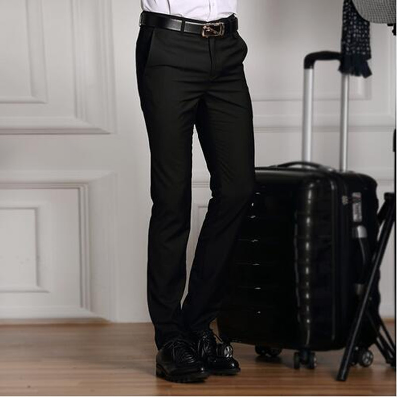 2019 Formal Wedding Men Suit Pants Slim Pure color Casual Brand Business Blazer Straight Dress Trousers high-grade Male S-3XL