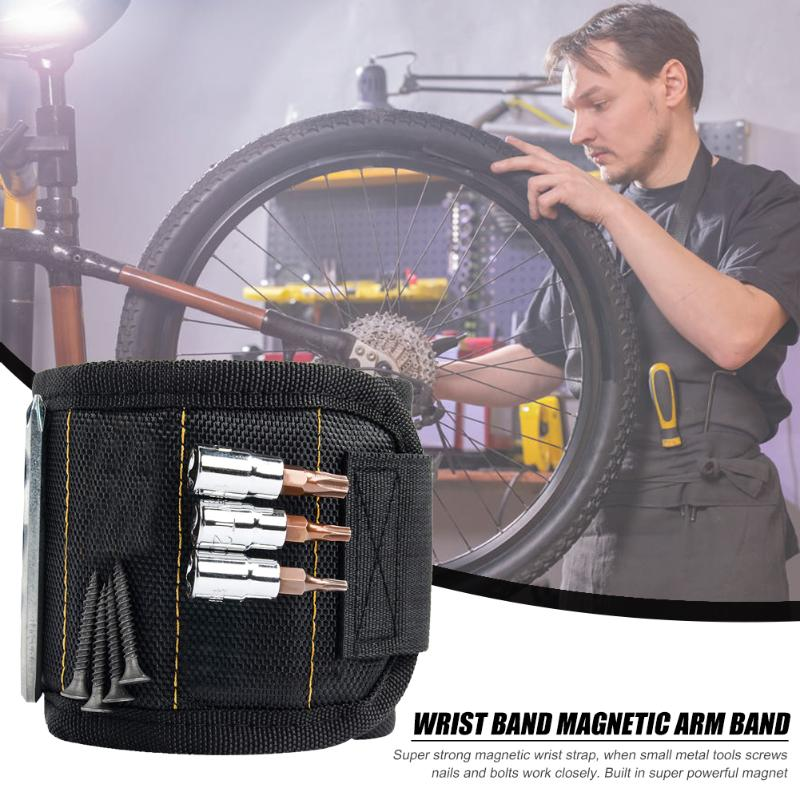 Magnetic Wristband Bag With 5 Magnet Compartment Screw Nail Drill Bracelet Electrician Wrist Tool Repair Kit Portable Tool