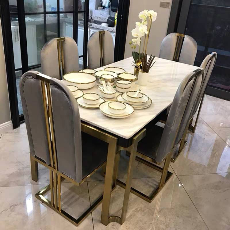 Luxury Marble Dining Table Set Dinner Chair стол обеденный Rectangle Table Living Room Furniture