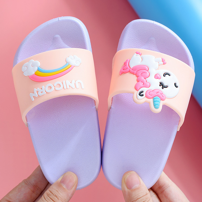 2020 Unicorn Shoes Slippers For Boy Girl Rainbow Shoes Summer Toddler Animal Kids Indoor Baby Slippers PVC Cartoon Kids Slippers