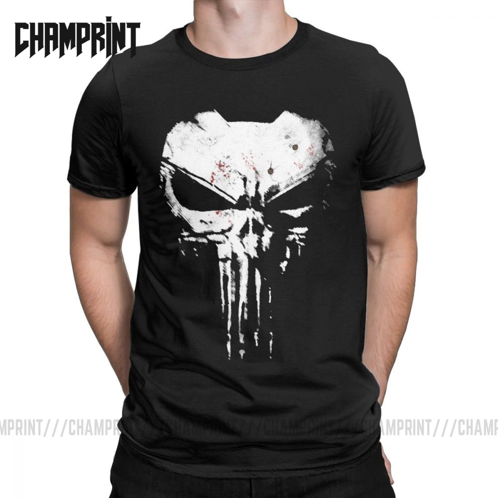 Vintage The Skull Punisher T-Shirts For Men Pure Cotton T Shirt Supper Hero Fitness Streetwear Memento Mori Short Sleeve Tees