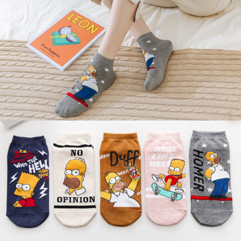 New Funny for Simpsons Family Fashion Casual Cartoon Women Socks Novelty Cute Cotton Invisible Unisex Slippers Happy Ankle