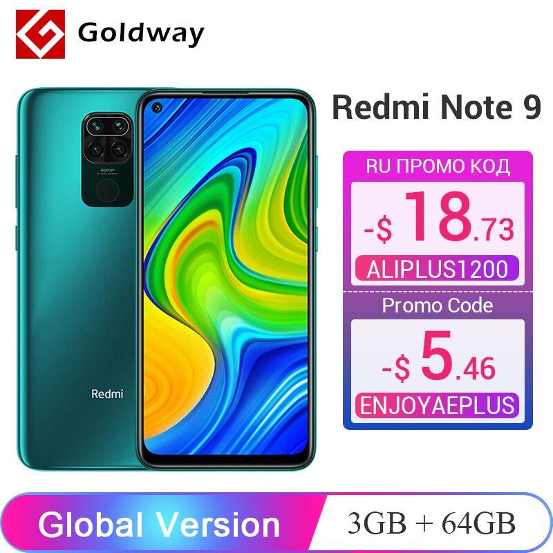 """Versão global xiaomi redmi nota 9 3gb 64gb/4gb 128gb smartphone helio g85 octa núcleo 48mp quad câmera traseira 6.53 """"5020mah"""