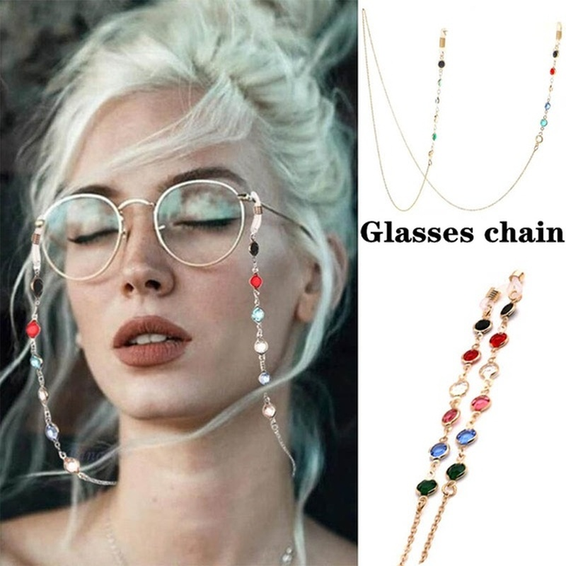 Women Men Eye Glasses Eyewear Chain Holder Accessories Fashion Crystal Sunglasses Necklace Reading Eyeglass Strap Cord Lanyard