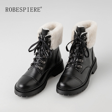 ROBESPIERE Women Platform Snow Boots Genuine Leather Natural Wool Fur Ladies Shoes Lace Up Winter Warm Plush Ankle Boots B154 prova perfetto sweet lace up women boots natural sheepskin leather snow boots for women real wool inside lady winter warm boots