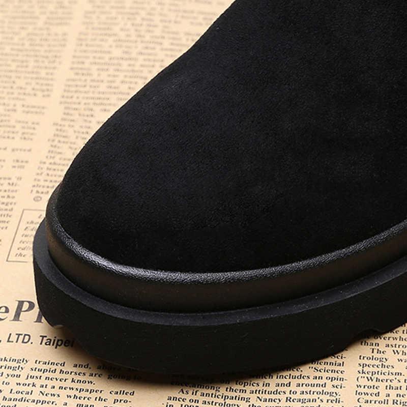 Fujin kadın kar botları akın platformu Lace Up kayma uzun sıcak peluş kürk patik ayakkabı yarım çizmeler kadınlar için kış