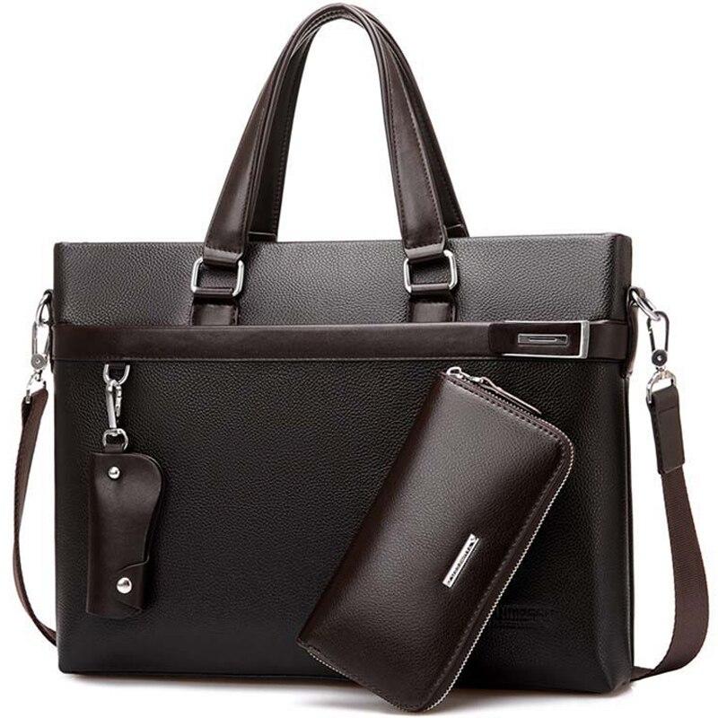 2021 3pcs set Men Briefcase Leather Male Business office bags Men's Briefcase high quality Black Brown Laptop Briefcase