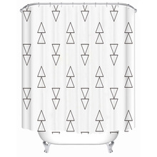Simple symbol graphic  line polyester printing waterproof bathroom shower curtain bathroom partition curtain with hook