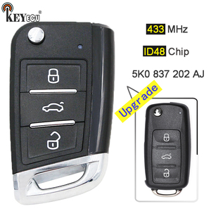 KEYECU 434MHz ID48 Chip 5K0 837 202 AJ Upgraded Remote Key Fob 3 Button for VW Volkswagen Caddy Polo Transporter Beetle Jetta