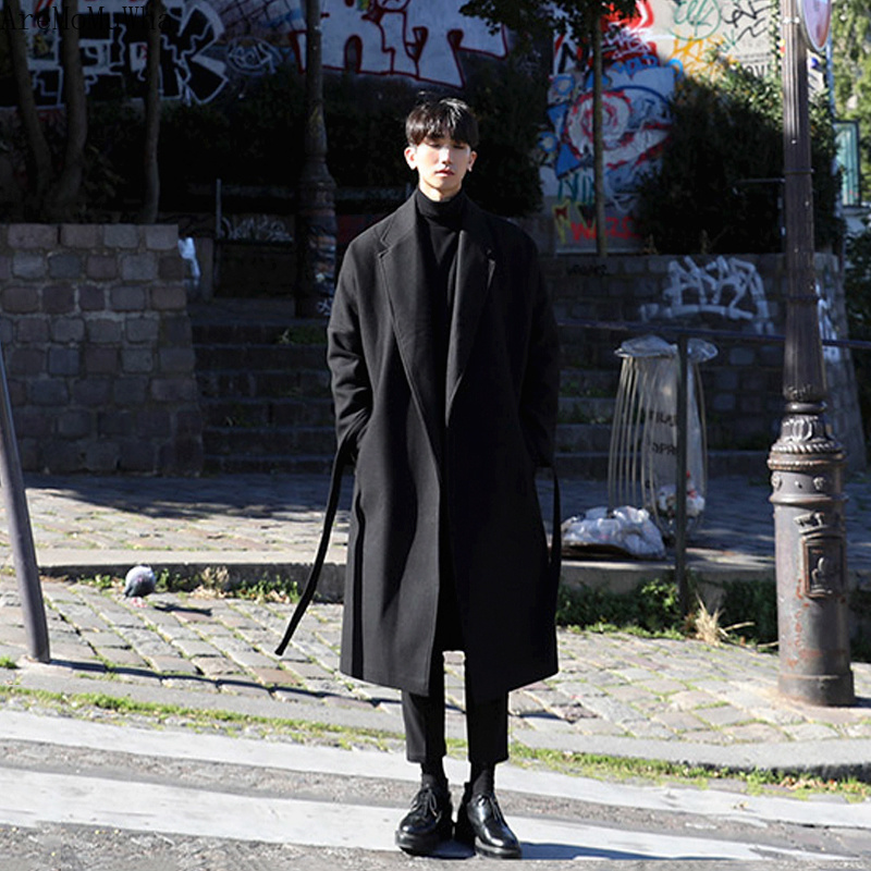AreMoMuWha Japanese Windbreaker Men's Long Section Thick Warm Warm Coat Men's Tide Men's Loose Coat Wool Woolen Korean Version